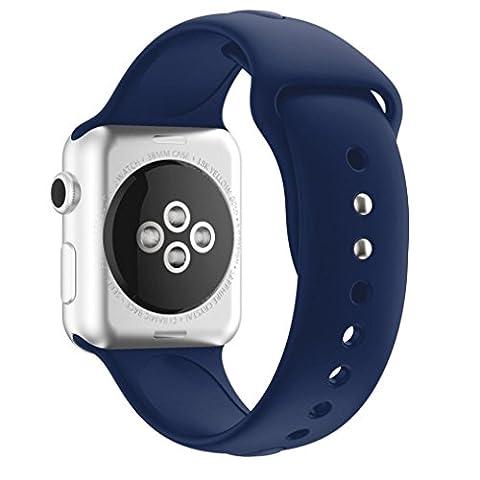 Sportband für Apple Watch Serie 1/2 38MM, CICIYONER Silikon Uhrenbänder, 14 Farben (Marine, Apple Watch Serie 1/2 38MM)