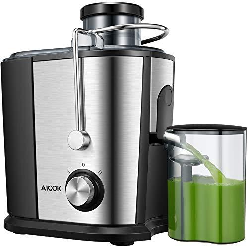 Centrifuga Frutta e Verdura, Aicook 600W Estrattore di Succo a Freddo a 65MM Bocca, Acciaio Inossidabile a Usi Alimentari senza BPA, Doppia Impostazione di Velocità con Funzione Antigocciolamento
