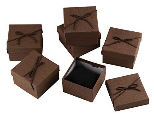 Juvale Kleine Geschenkboxen für Ringe, Anhänger, Uhren, Ketten zum Jubiläum, Hochzeit, Geburtstag, Valentinstag Für Damen 18 Stück Braun
