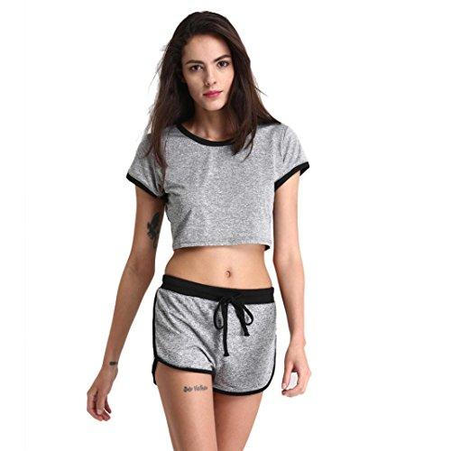 Damen Yoga Top Tank + Shorts Sets, ZIYOU Sport Kurze T-shirts und Hosen für Athletische GYM Eignung (Grau, L) (Frauen Athletisch Shorts)