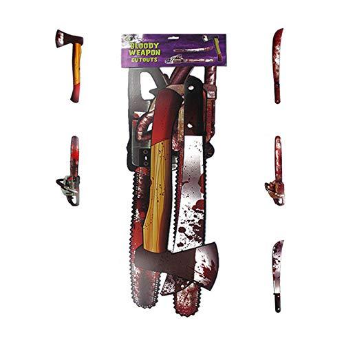 WYBXA Armas Sangrientas De Halloween, Casa Embrujada, Traje, Barra De Escenario, Horror, Persona Completa, Disfraces Decorativos De Vestir,Largesetofbloodknifechainsaw5sets
