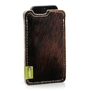 "ALMWILD iPhone 5 SE, iPhone 5 Hülle Sleeve aus echten Kuhfell mit Rückenteil in Filz in Beige - Grau. Modell ""Muuhh"" Fell-Farbe: Uni Braun"
