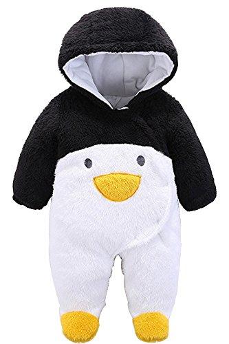 KINDOYO Unisex Baby Kleinkind Overall Strampler Cartoon Onesies Strampelanzug mit Kapuze Mädchen & Jungen Jumpsuit Winter Bodysuit Outfits , Pinguin ( Schwarz / Weiß (Outfit Pinguin)