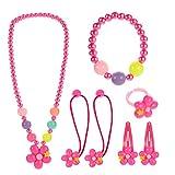 Hifot Kinderschmuck Kleine Mädchen Halskette Armband Ring Haar Klammern Einstellen Set, Modeschmuck Party Favors Geschenk zum Anziehen Pretend Play