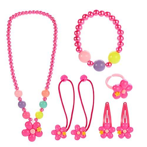 Kleine Mädchen Halskette Armband Ring Haar Klammern Einstellen Set, Modeschmuck Party Favors Geschenk zum Anziehen Pretend Play ()