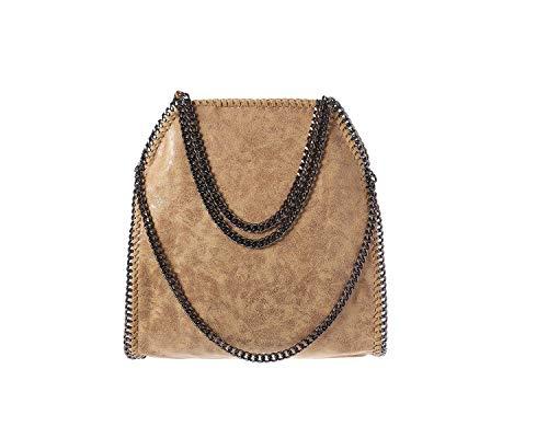 Leder Ähnliches Material (Damen PU lässigen Angleliu Kette Handtasche Modisch Schultertaschen Glitzer Beuteltasche (Beige Farbe))