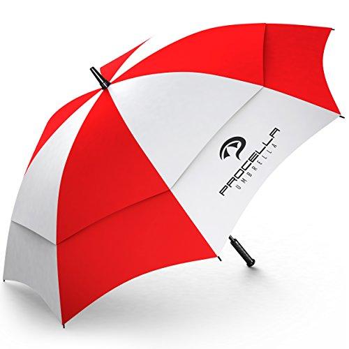Procella Golf-Regenschirm, automatischer Öffnungsmechanismus, Regen- und Wind-beständig, Größe L, Rot/Weiß