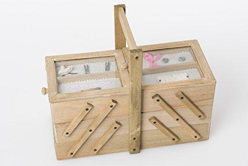 Nähkasten Nähbox Nähkästchen Nähkorb Natur Holz Nähset Nähzeug Vintage Shabby