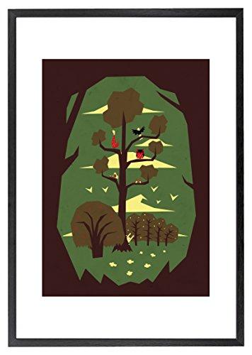 2 Gerahmte Vogel-prints (Monde Mosaik Kaninchen und Vögel Gerahmter Druck Wand Kunst, mehrfarbig)