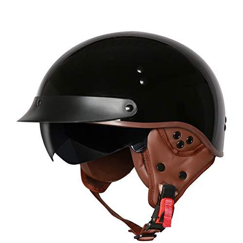 Elektrischer Fahrzeuglichtsturzhelm des Retro- Motorradsturzhelm-Schutzohres halber Sturzhelmabdeckungssommer weiblicher-L-5