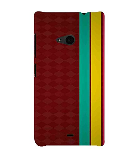 For Microsoft Lumia 535 :: Microsoft Lumia 535 Dual SIM :: Nokia Lumia 535 green line, yellow line, pink line, red background Designer Printed High Quality Smooth Matte Protective Mobile Case Back Pouch Cover by Paresha  available at amazon for Rs.399