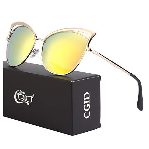 CGID Moderne Modische Spiegel Polarisierte Katzenauge Sonnenbrille Brille UV400,Gold