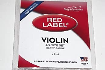 Super Sensitive Red Label 4/4 Violin Orchestra/Heavy Gauge Tension Steel Core Set of 4 Strings SS 2108 Vwws