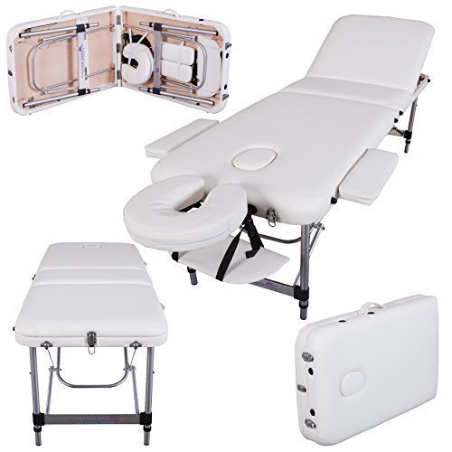Massage Imperial® Lightweight Professional Mayfair Aluminium 12Kg - Ivory White 3-Section Portable Massage Table Couch Bed Spa