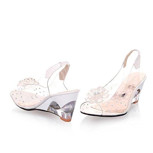ZHZNVX Transparente Schuhe mit Hohen Absätzen Kristallsandalen Frauen Sommerschuhe Keil Flache Füße Fischmund Sexy Toe Joker, Weiß, 40 (Keil Bridal Flops Flip)