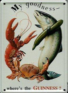 Guinness Mini della targa in metallo Metallo cartolina-Lobster, Crab-8x 11cm rimpianto segno Retro Segno Metal Tin Sign
