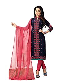 Shree balaji's women cotton unstitched dress material with dupatta blue