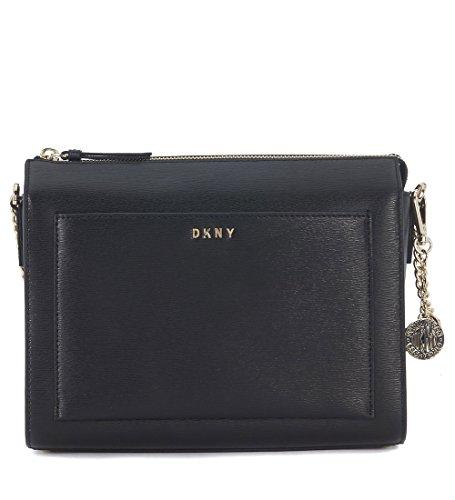 DKNY Umhängetasche in Saffianleder Schwarz (Dkny Taschen Leder)