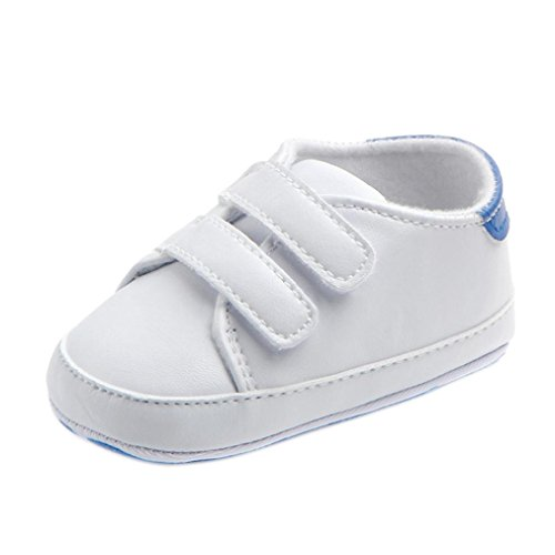 Turnschuhe Babyschuhe Neugeborenen Leder T-Strap Schuhe Sportschuh Jungen Lauflernschuhe Mädchen Krippeschuhe Krabbelschuhe Streifen-beiläufige Wanderschuhe LMMVP (Blau, 12(6-9Monat))