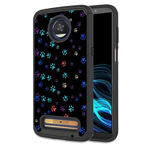 Moto Z3 Hülle, Moto Z3 Play Case, Spsun Dual Layer Hybrid Hard Protector Cover Anti-Drop TPU Bumper für Motorola Moto Z3 Play 2018, Multicolor Paws Dog Verizon Cell Phone Cover