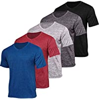 5 Pack:Men's V Neck Quick Dry Fit Dri-Fit Short Sleeve Active Wear Training Athletic Essentials T-Shirt Tee Fitness Gym Workout Undershirt Top-Set 2,L