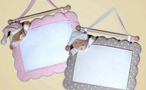 Coccarda nascita quadretto orso (rosa)