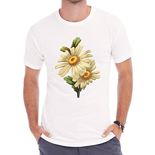 Flowers Nature Blossom Plant Two Daisies Herren T-Shirt Weiß