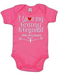 IiE, I Love my Granny & Grandad this much, Novelty Baby Girl Bodysuit