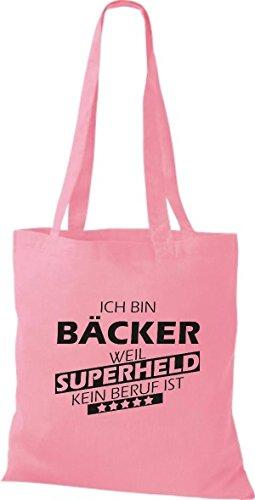 Shirtstown Stoffbeutel Ich bin Bäcker, weil Superheld kein Beruf ist rosa