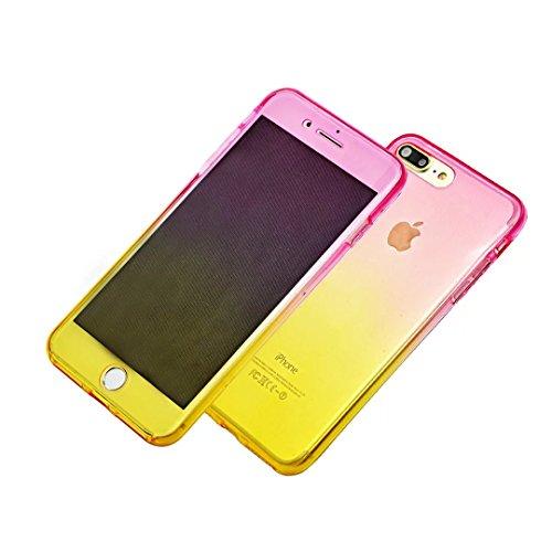 Transparent Coque pour iPhone 5 5S SE TPU Silicone Etui Coque de Protection en TPU avec Absorption de Choc Bumper et Anti-Scratch Hull Couverture pour iPhone 5 5S SE Soft TPU Housse,Vandot [Full Prote Transparent-Rose Rouge + Jaune