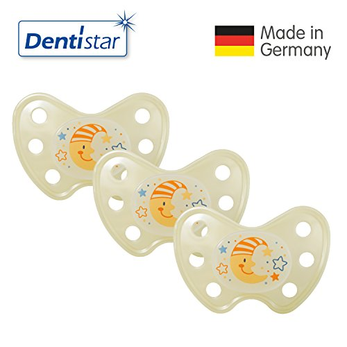 Preisvergleich Produktbild Dentistar® 3er Set Night Silikon-Schnuller - Größe 3, ab 14 Monaten – Nacht-Leuchtschnuller, Nuckel leuchtend, Zahnfreundlich, Mond gelb