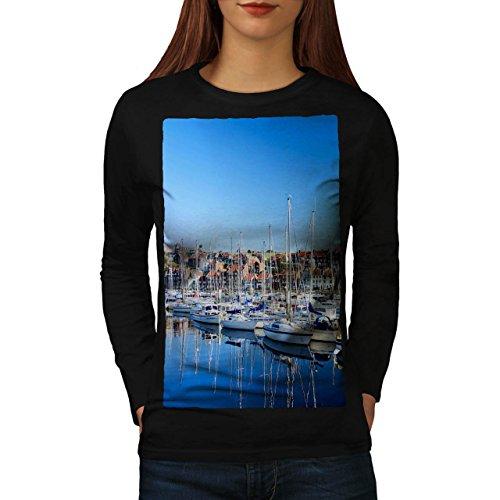 Boot Bucht Neuheit Natur Cool Yachten Damen L Langarm-T-Shirt | Wellcoda (Bucht Hawaii-shirt)