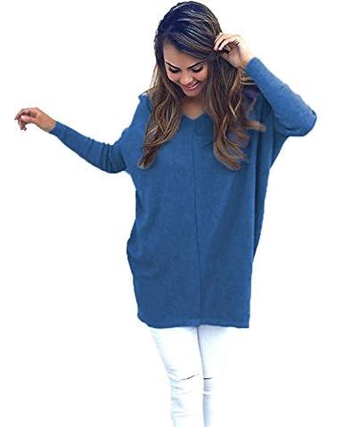 Minetom Femmes Automne Vrac Lâche Blouse Pull Tricots Col V Manches Longues Casual Cavalier Pullover Hauts Chemisier Bleu FR 42