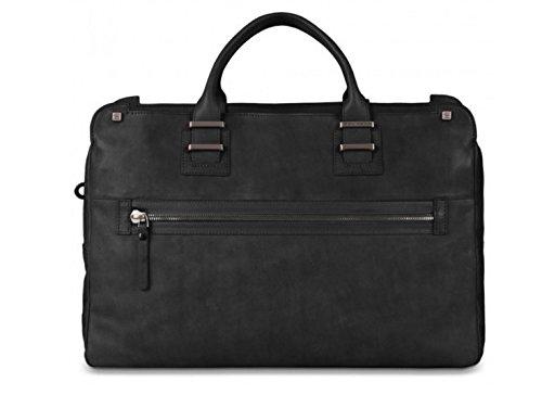 Piquadro Cartella porta computer a due manici con tasca frontale e porta iPad Tau nera