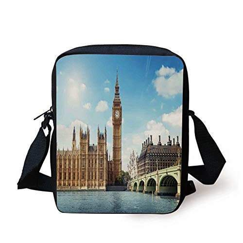 KLYDH London,Scenery of Big Ben Westminister Brigde Thames River and Houses of Parliament,Blue and Ivory Print Kids Crossbody Messenger Bag Purse -