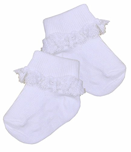 BabyPrem Frühchen Socken Mädchen Spitzentop Weiß 1.5-7.5lb