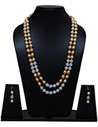 [Sponsored]Black And Golden Pearl Necklace Set With Earning For Women