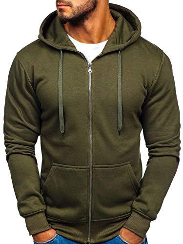 BOLF Herren Kapuzenpullover Sweatshirt Hoodie mit Reißverschluss J.Style 2008-A Olivgrun XL [1A1] -