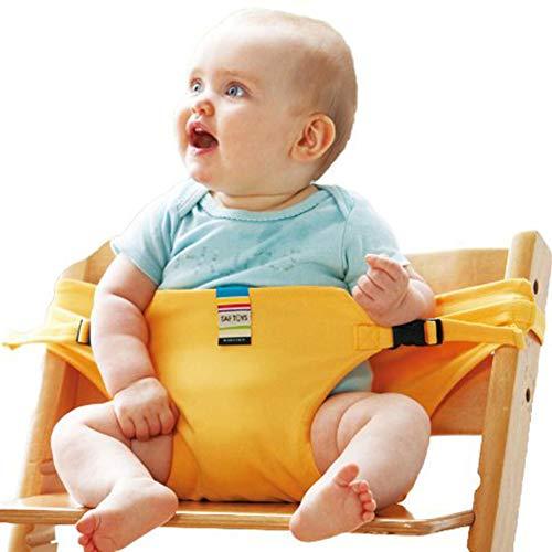 WUYEA Tragbarer Baby-Seat-Essstuhl Sitzgurt, einfach zu bedienenden Fit-Stuhl Perfekt, Safety Harness Gürtel für Baby 3-36 Monate,Yellow -