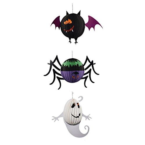Topker Glückliches Halloween-Papier-hängende Laterne Geist-hängende Kürbis-Schläger-Spinnen-Stützen Papier für Bäume Stab-DIY - Diy Halloween-geister-baum