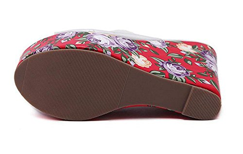 GLTER Frauen Pumps Sommer neue transparente Glas Kleber böhmischen Stil Blume Piste Hausschuhe High Heel Schuhe Outdoor Sandalen Red
