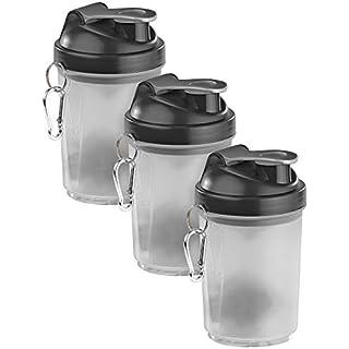 PEARL sports Fitnessflasche: 3er-Set Fitness-Drink-Shaker mit Mischball, 500 ml, BPA-frei (Fitnessdrink-Mixer mit Messbechern)