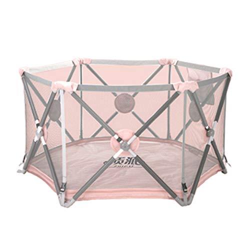 Barrières de lit LHA Baby Playpen Pliable Bébé Enfant Jeu Pen 6 Panneau Centre D'activité Tapis De Sol Intérieur (Couleur : Pink)