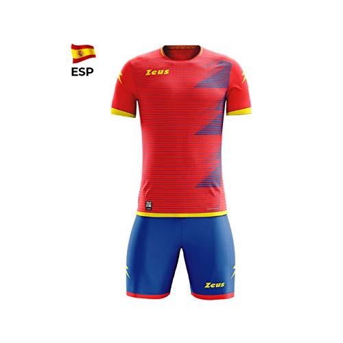 Zeus kit mundial completino calcio colori nomi squadre mondiali (l/xl, rosso-giallo (spagna))