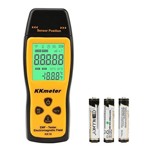 KKmeter EMF Meter EMF Messgerät Elektromagnetische Strahlung Messgerät Radiation Detector Handheld Design mit Hinterbeleuchtung LCD-Anzeige