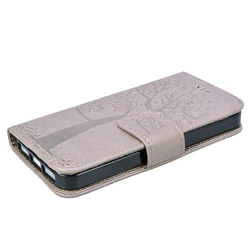 GrandEver iPhone SE / 5S / 5 Ledertasche Hülle Schutzhülle Eule und Baum Retro Tasche Lederhülle mit Handschlaufe Scratch Ledercase Schale Umschlag Stil Flip Wallet Case Cover mit Weiche Silikon Inner Grau