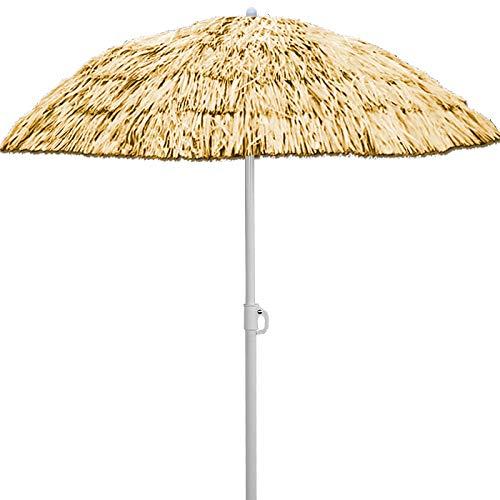 Ombrellone in rafia sintetica Ø 160 cm modello hawaii ecrù - altezza: 180 cm - inclinabile e regolabile in altezza