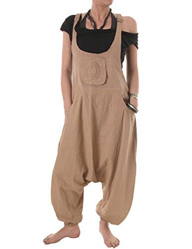 Vishes – Alternative Bekleidung – Baumwoll Latzhose Haremshose Overall beige-hellbraun 46 bis 48