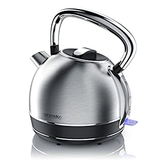 Arendo - Retro Edelstahl Wasserkocher/Teekessel im Vintage Style   max. 2200 Watt   austauschbarer Kalkfilter   Füllmenge max. 1.7 Liter   automatische Abschaltung   Silber (Edelstahl gebürstet)
