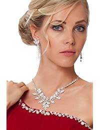 Herrliche Halskette & Drop Ohrring -Set mit klaren Strass - SZ1279